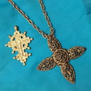 Vintage Stylized Cross Necklace + Pendant